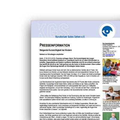 Pressemitteilung – Steigende Kurzsichtigkeit bei Kindern – Kuratorium Gutes Sehen