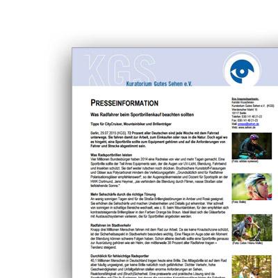 Pressemitteilung – Sportbrillen für Radfahrer – Kuratorium Gutes Sehen